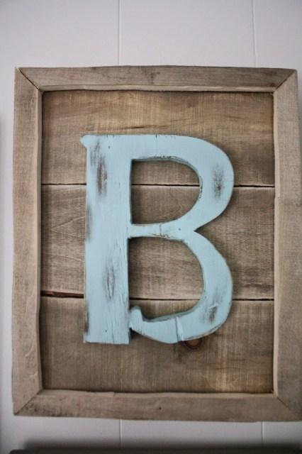 Wooden Letter Frame B blue