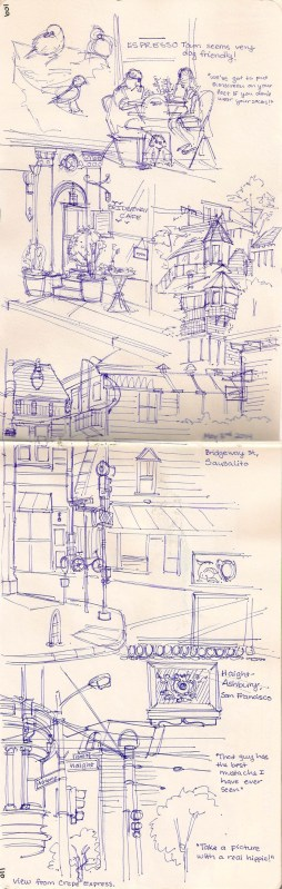 Little sketches of Sausalito, where we at breakfast.