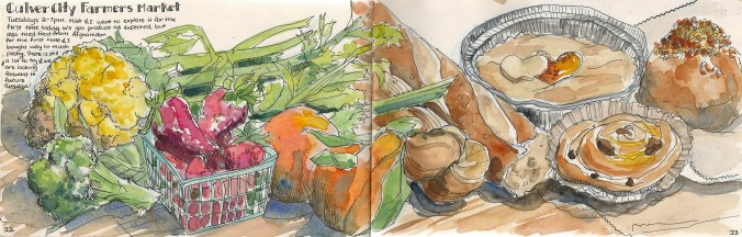 painting of produce and baked goods