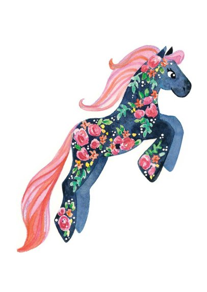 Navy Rose Pony - I painted the roses first and masked them off with masking medium when I did the navy blue wash.