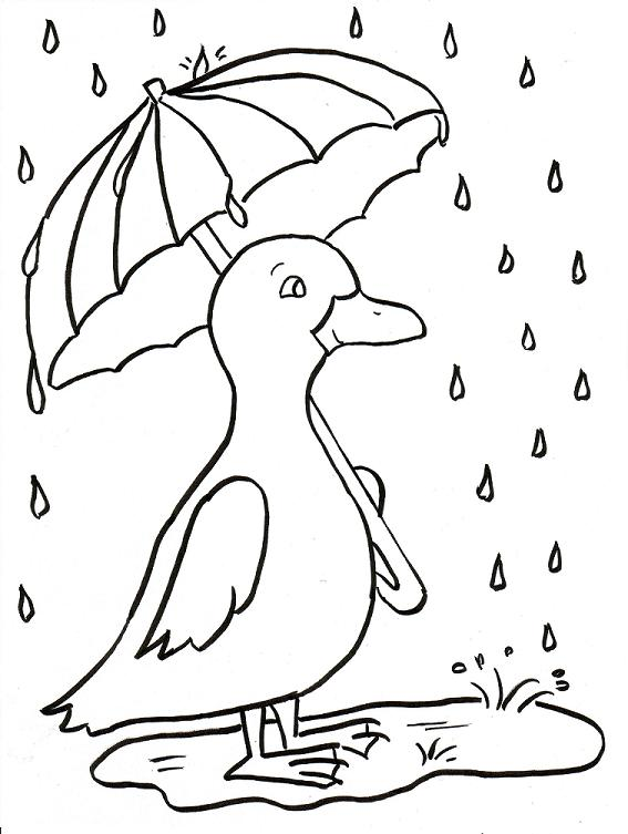Rainy Day Duckling Coloring Page - Samantha Bell