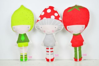 dolls Lemon Mushroom Strawberry by PINKNOUNOU