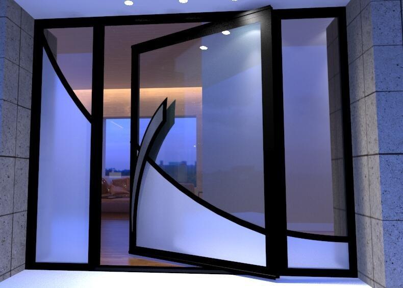 modern glass pivot hinges door design