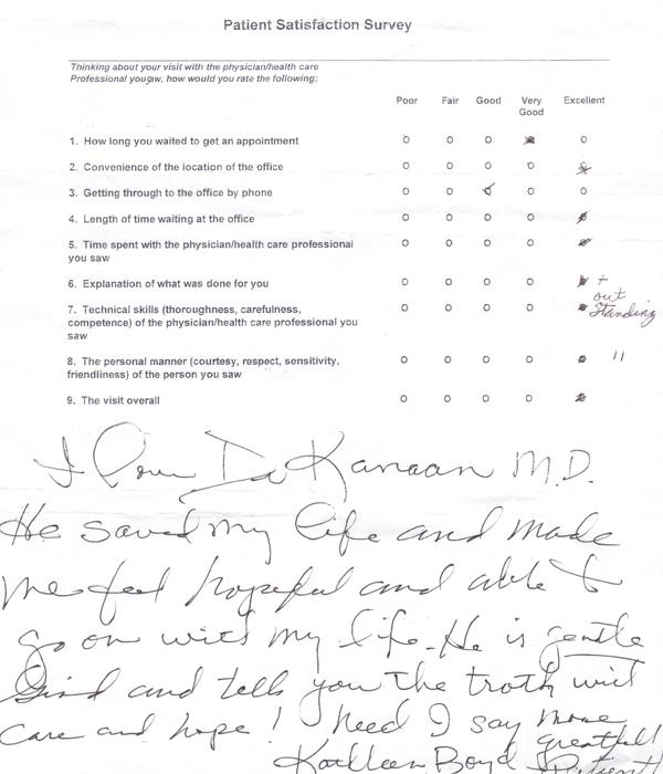 Patient Satisfaction Survey Mission Viejo Dr Kanaan Thoracic - Patient Satisfaction Survey Template
