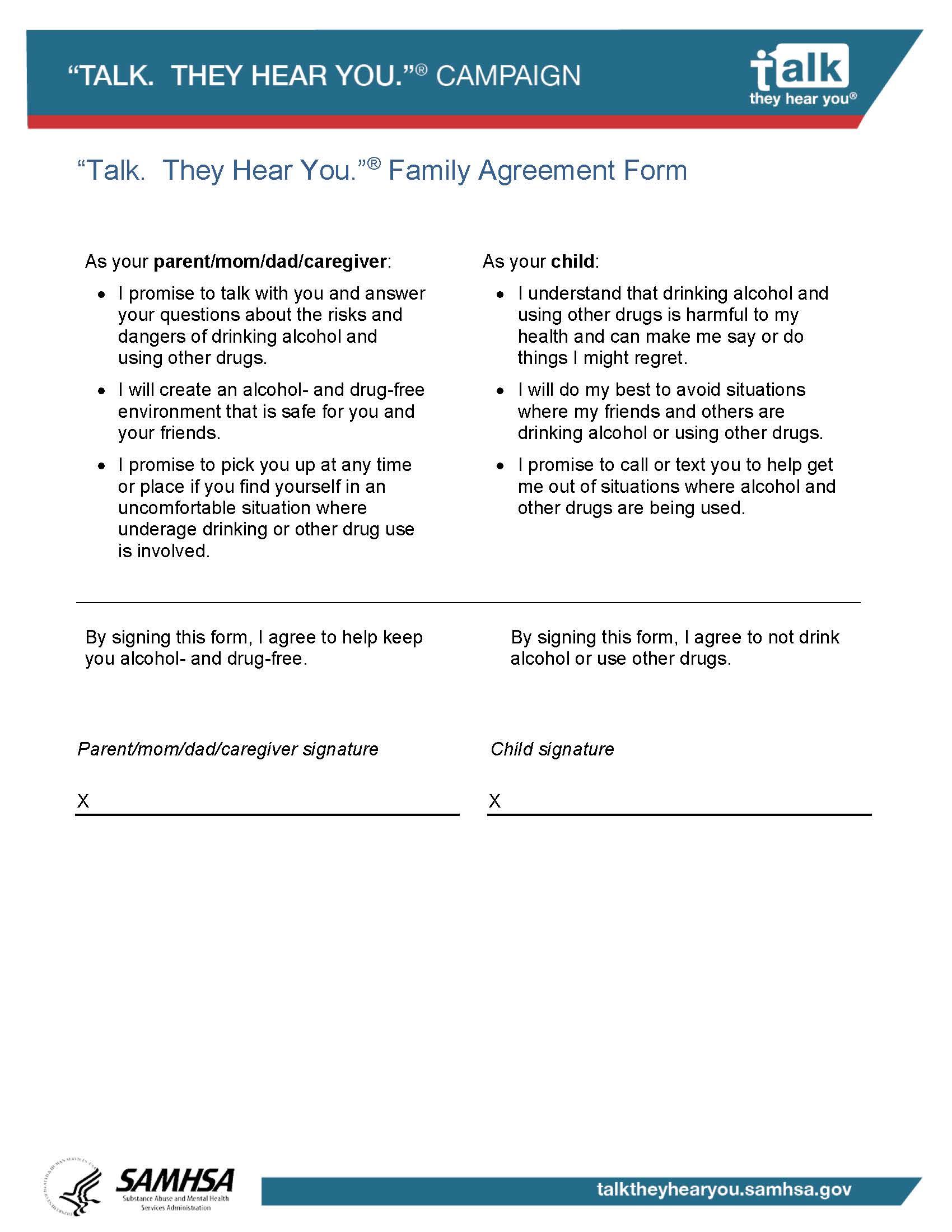 Family Agreement Form Avoiding Alcohol SAMHSA - Substance Abuse