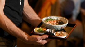 More deliciousness: Salmon Jook with nori, fried garlic, sweet potato, and more!