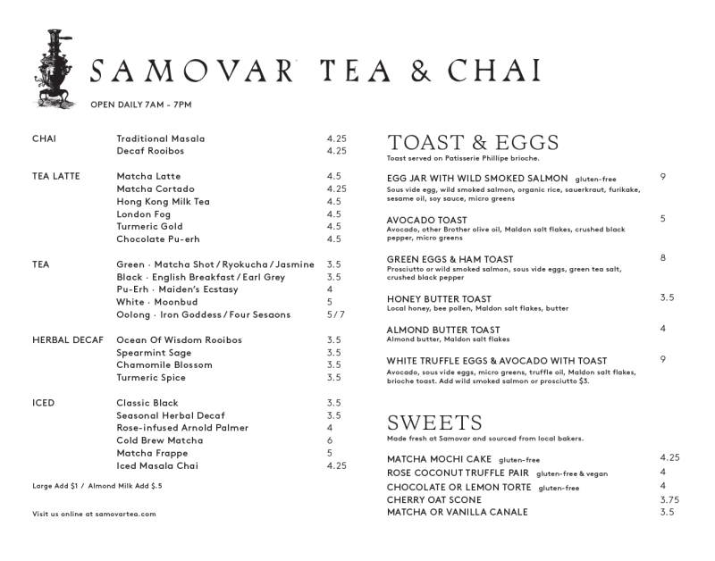 Samovar Tea (411 Valencia St) Food & Tea Menu