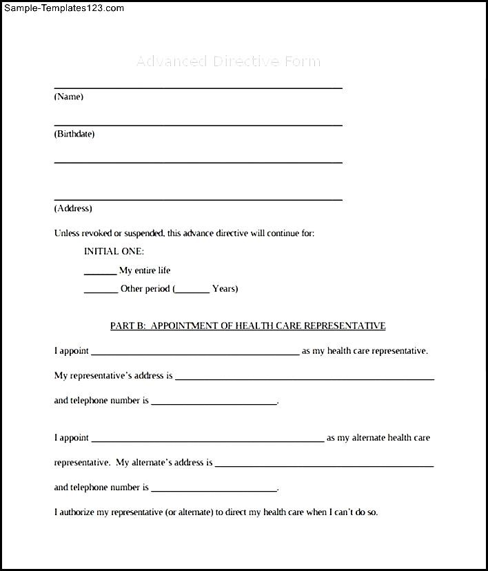 Awesome Health Care Directive Template Photo - Resume Ideas - sample advance directive form