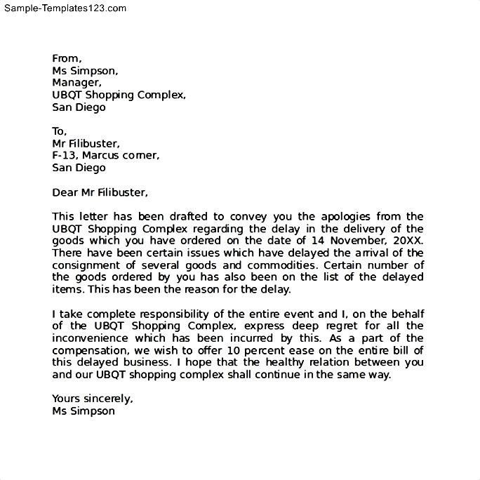 Magnificent Sample Apology Letter For Being Late Component - Best - format of apology letter