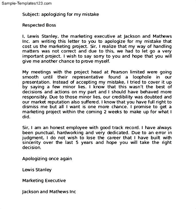 Apology Letter for Mistake at Work to Boss - Sample Templates