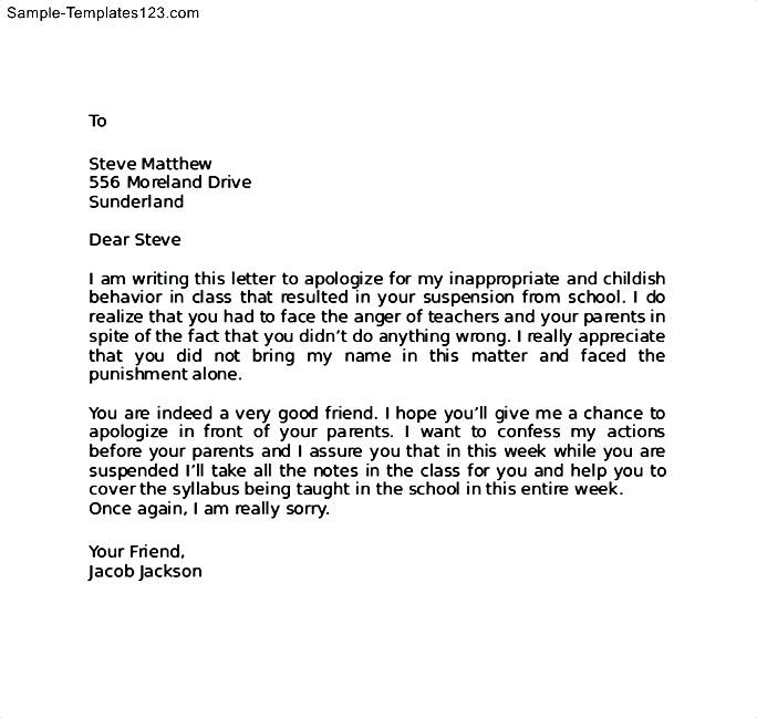 Apology Letter to Friend After Bad Behaviour - Sample Templates - Example Of A Apology Letter