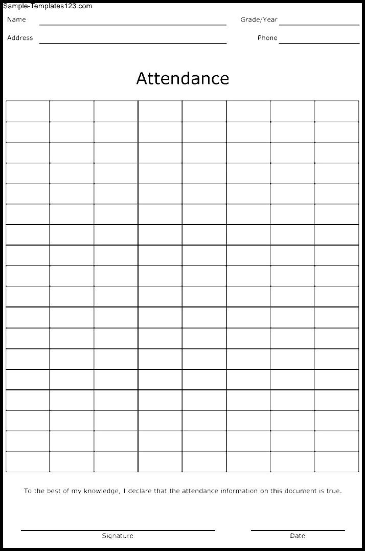 Attendance Sheet Template - Sample Templates - Sample Templates