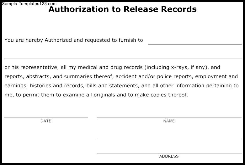 Authorization To Release Information Template - Costumepartyrun