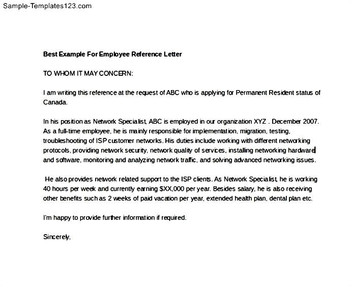 Best Example For Employee Reference Letter - Sample Templates