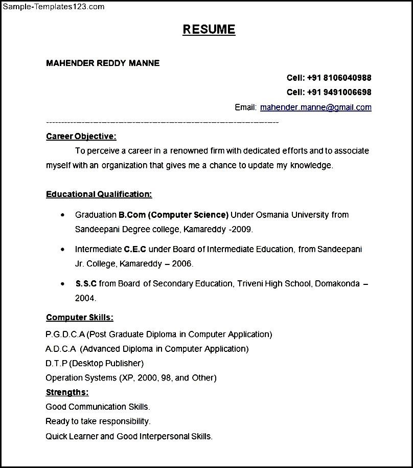 Resume Format For Dentist Freshers - Resume Template Ideas