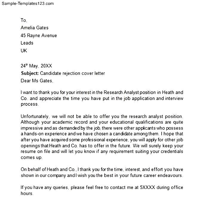 rejection letter for internal candidate - Mersnproforum