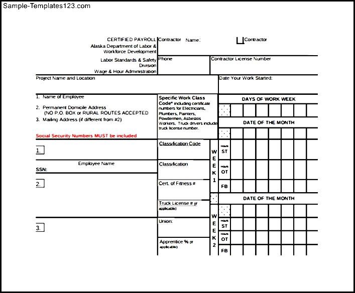 Certified Payroll Form Sample Templates - certified payroll form