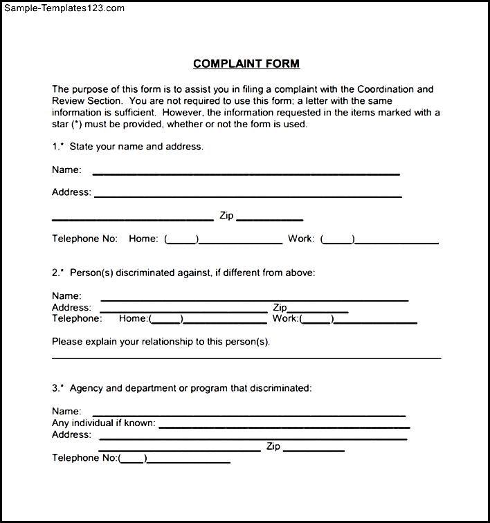 Civil Complaint Form Example - Sample Templates - Sample Templates