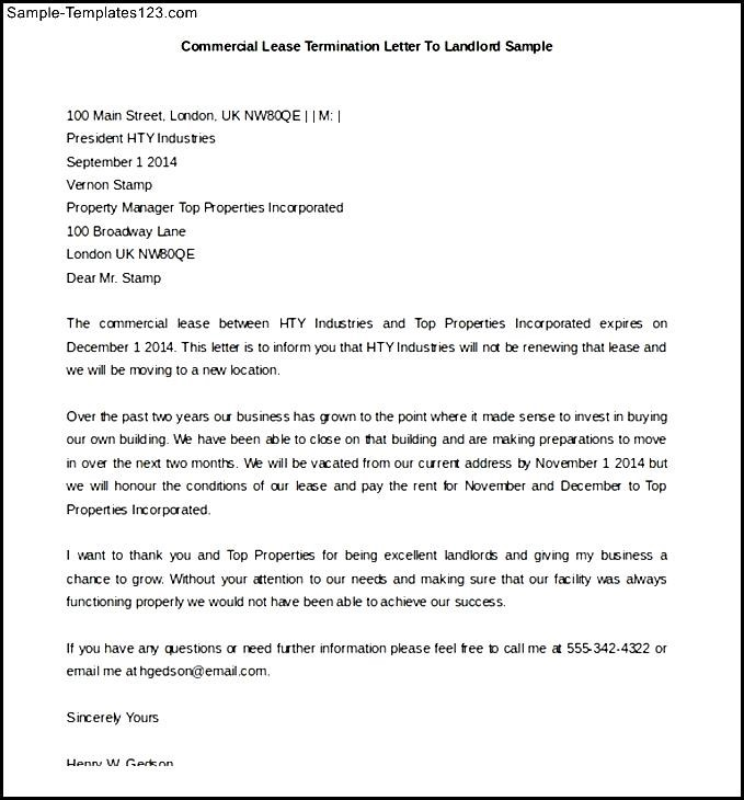 commercial lease termination letter to landlord - Minimfagency