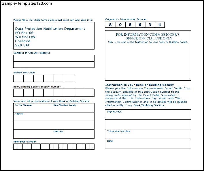 Download Direct Debit Form - Sample Templates - Sample Templates - direct debit form