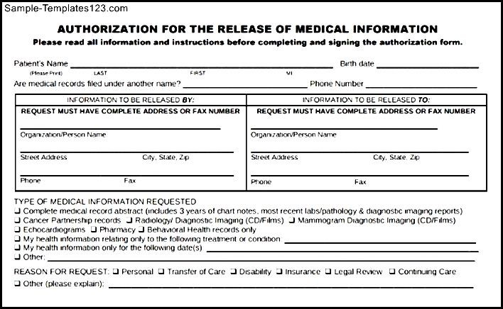 Request For Release Of Medical Records Template Gallery - Template - medical release form sample