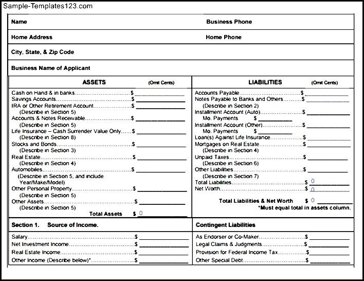 11 Blank Financial Statement Financial Statement Form Free Personal