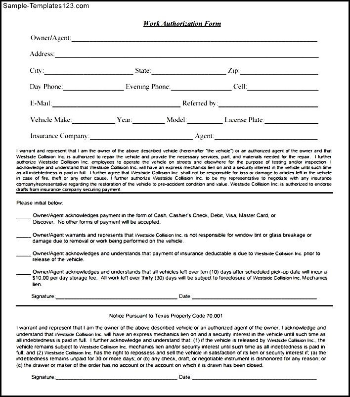 work authorization form template - Selol-ink - Work Authorization Form