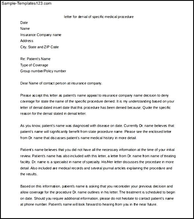 Editable Medical Appeal Letter Templat Word Format - Sample
