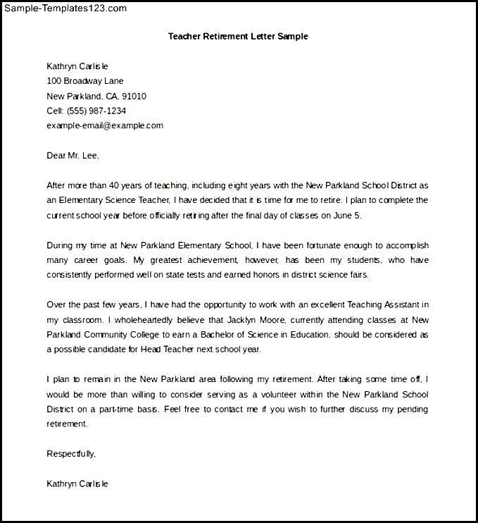 Editable Teacher Retirement Letter Template Sample Word - Sample