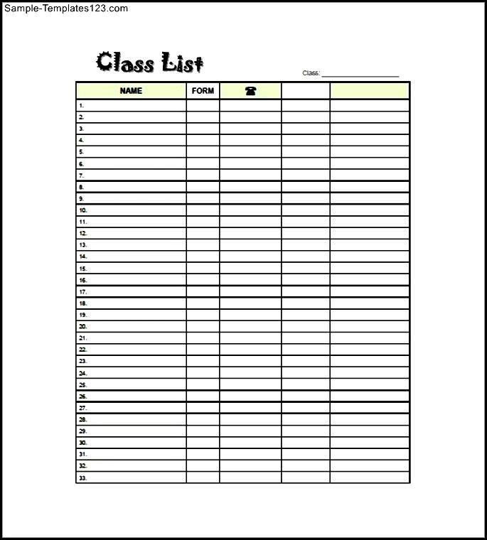 Modern Free Class List Template Motif - Example Resume and Template - class list template