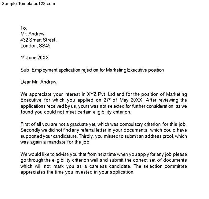 Rejection Letter Sample 10 Free Word Pdf Documents Best Photos Of - Employment Rejection Letter