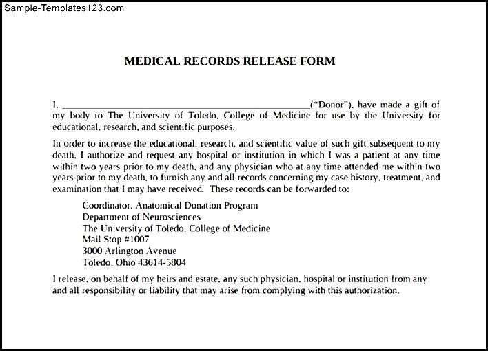 Medical Record Release Form Template madebyrichard - sample medical release form