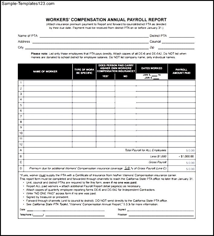 Example Of Workers Compensation Form - Sample Templates - Sample