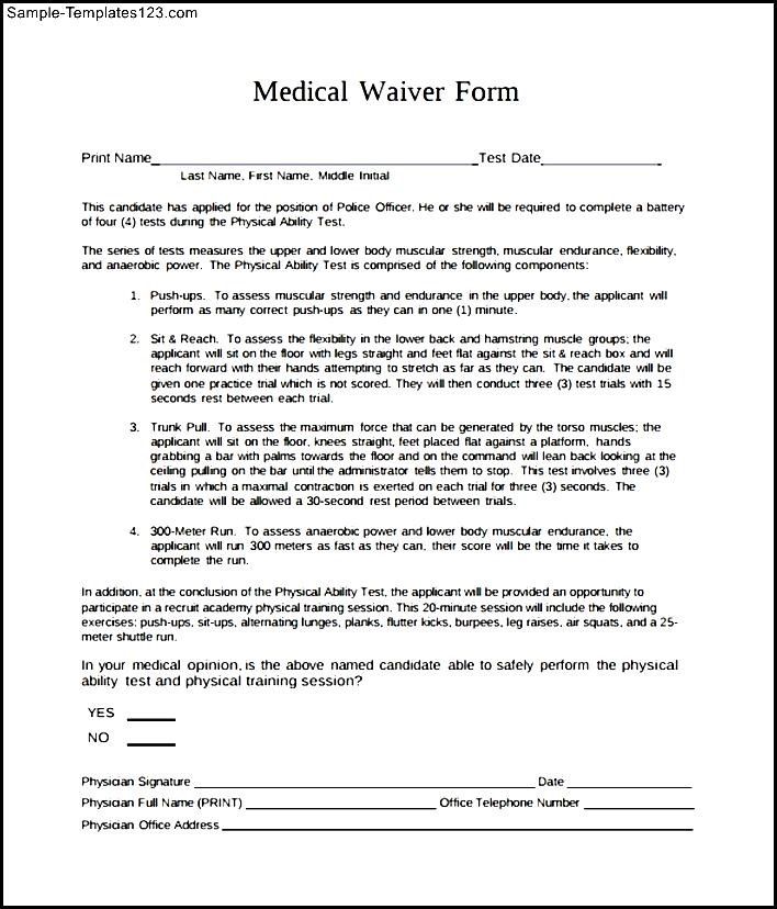sample medical waiver form Seven Things You Most Likely - sample medical waiver form