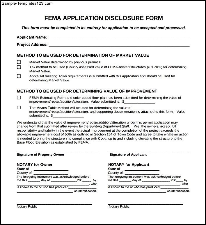 FEMA Application Form PDF - Sample Templates - Sample Templates - fema application form