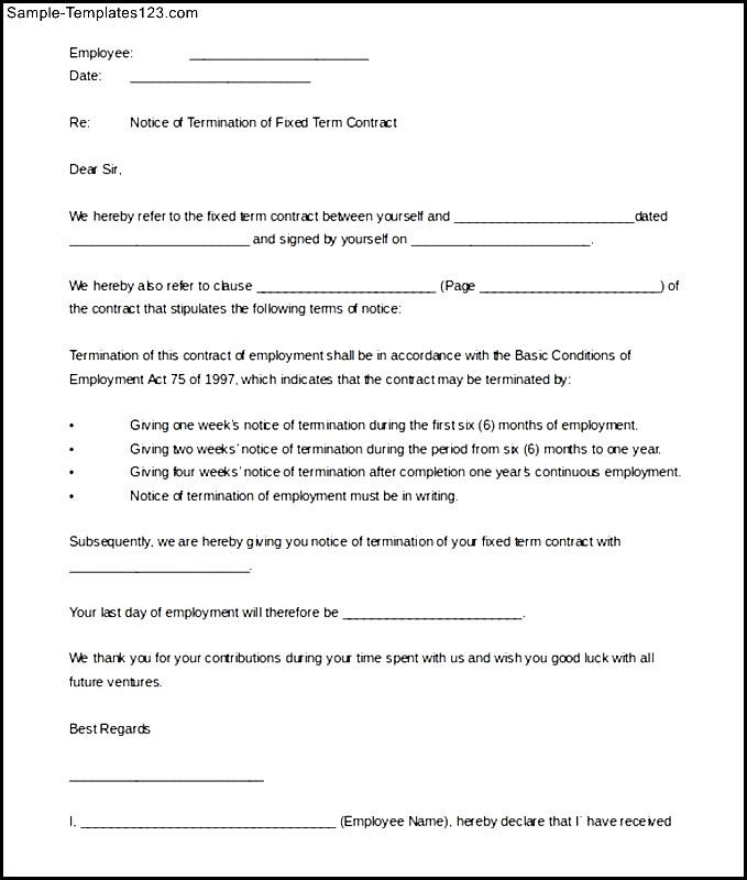 Fixed Term Contract Termination Letter Template Printable - Fixed