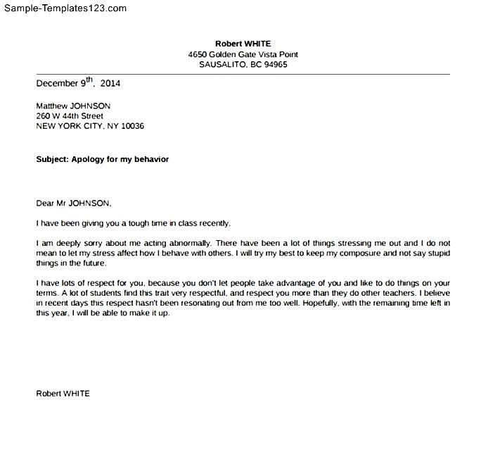 Free Apology Letter to Teacher - Sample Templates - Sample Templates