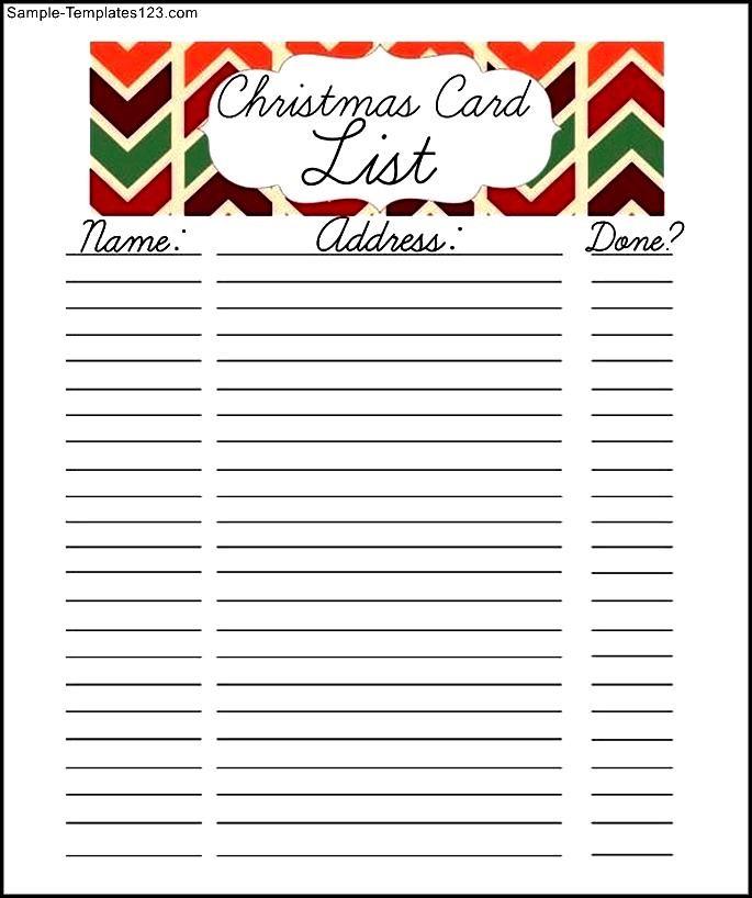 Christmas Card List Template Choice Image - Template Design Ideas - free christmas list template