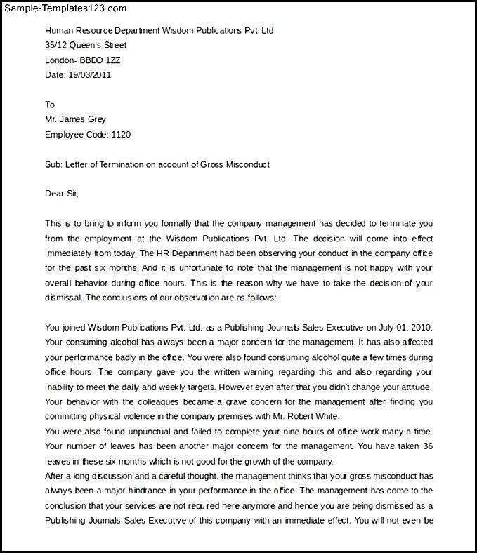 Free Employee Termination Letter for Gross Misconduct - Sample - employee termination letter template free