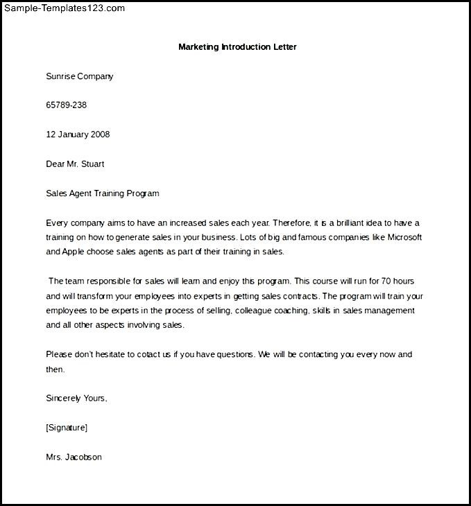 Free Marketing Letter of Introduction Template Example Download