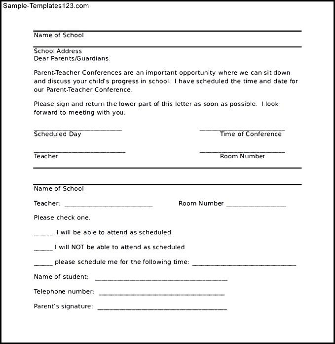 parent conference letter template