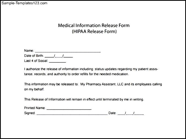 Hipaa Form Template - Costumepartyrun - hippa release forms