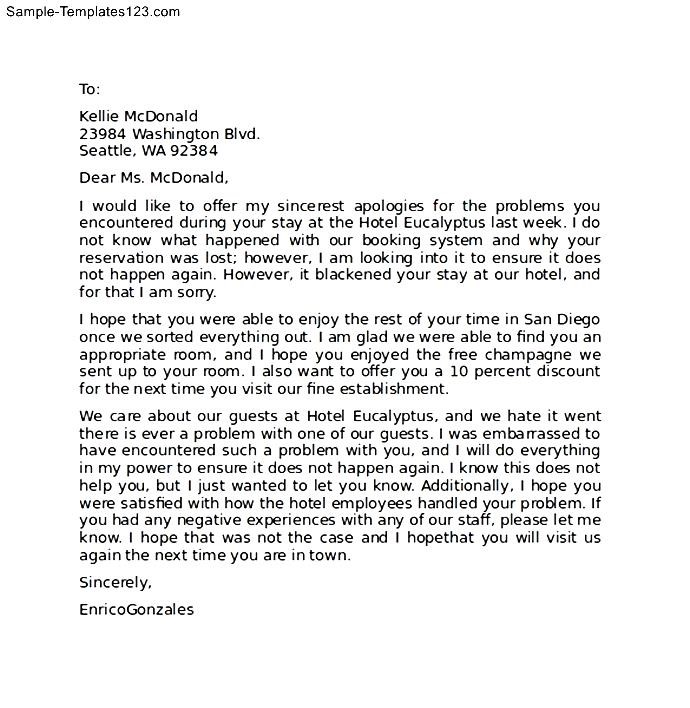 hotel apology letter dzeo - example of apology letter