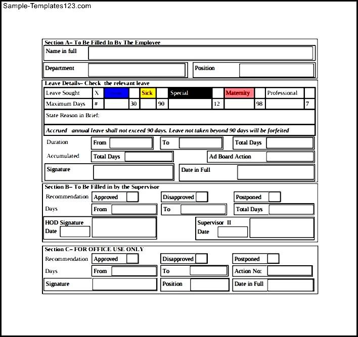 Leave Form For Free Download - Sample Templates - Sample Templates