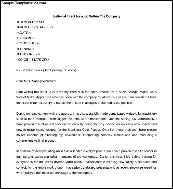 Letter of Intent for a job Position Within The Same Company - Sample - applying for another position within the same company