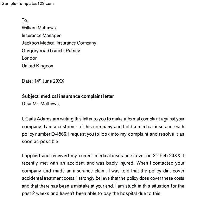 Medical Insurance Complaint Letter - Sample Templates - Sample Templates