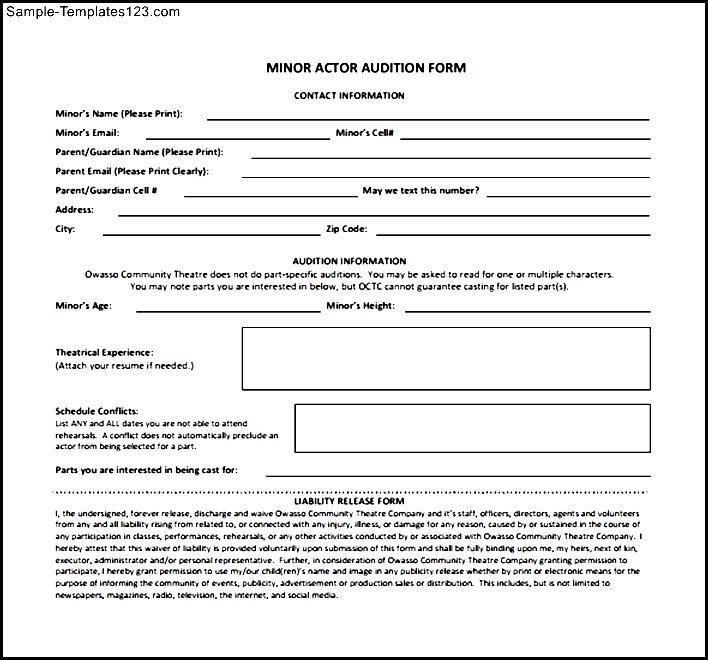 Top Result 60 Awesome Acting Contract Template Photography 2017 Zzt4 - audition form