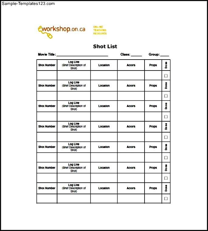 Movie Shot List Template Free - Sample Templates - Sample Templates - Shot List Template