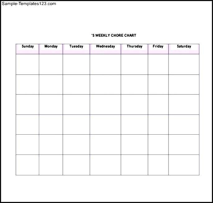 Printable Chore List Template - Sample Templates - Sample Templates