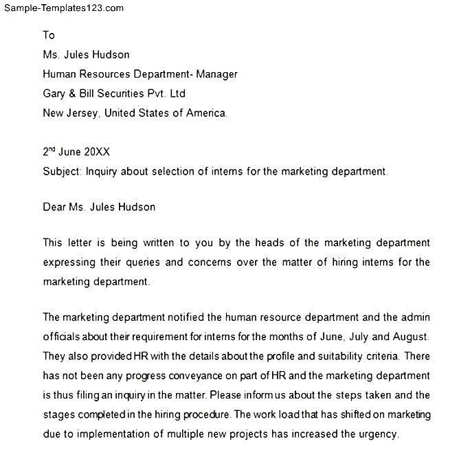 Enquiry Letter Format Pdf Images - letter format formal example - example of inquiry letter in business